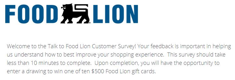 www.talktofoodlion.com groceries sweepstakes